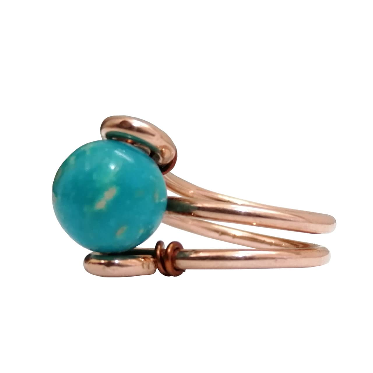Copper-with-round-turquoise-silver-Ring